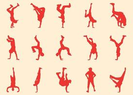 Breakdancers Silhouettes