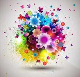 Abstract Flower Background Vector-2