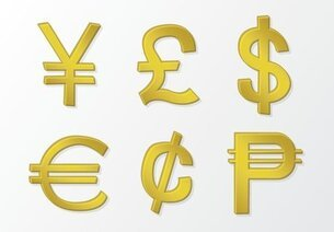 Golden Vector Money Symbols