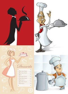 Cartoon waiter image