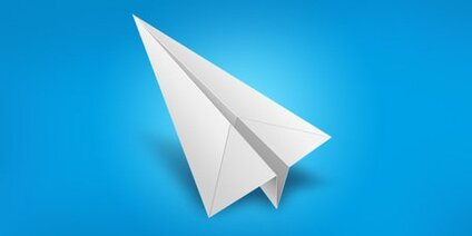 White paper airplane icon (PSD)