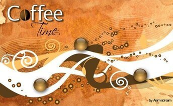 Elegant Vector Wallpaper Coffee Time Design, Vector Wallpaper Adobe Eps Design Tutorial