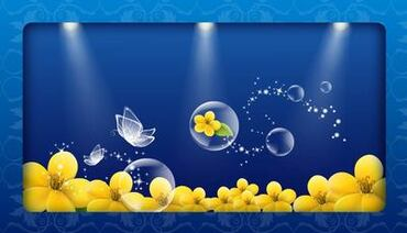 Fluorescent Crystal Butterfly Bubbles and Floral Background