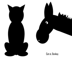 Free Vector Cat and Donkey Silhouettes