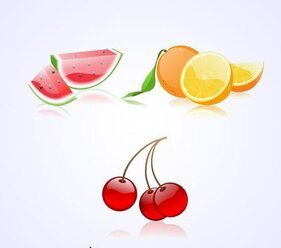 Colorful Fruit Vectors: Watermelon, Orange & Cherry (Free)