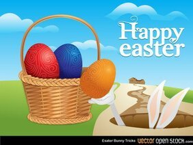 Free Easter Eggs in Basket Vector Art