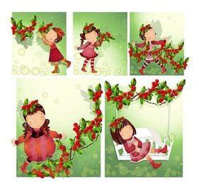 Red fruit theme (South Korea iClickart Four Seasons cute gir