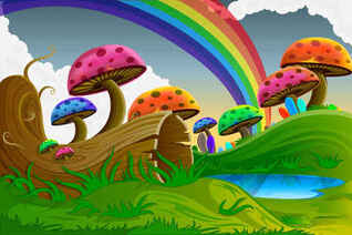 Cartoon colorful mushrooms