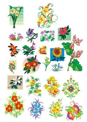Lotus and other flowers pattern vector case