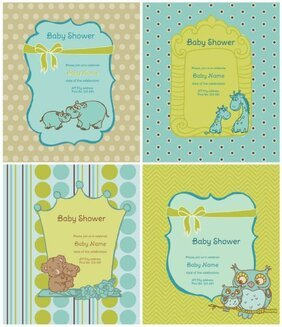 Cartoon animals labels background