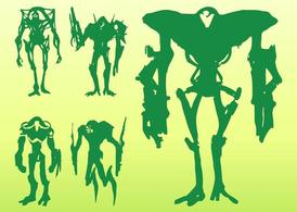 Alien Monster Silhouettes