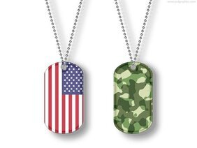USA and camouflage dog tags (PSD)