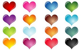 Colorful crystal effect of heart-shaped