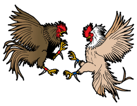 Cockfighting Vector Clip Art Image
