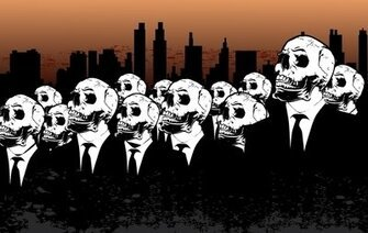 Peoples with Skulls and City Behind