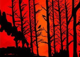 Red Sky and Forest Silhouette
