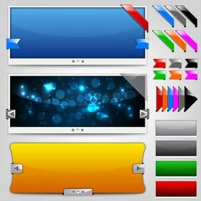 Glossy Web Slider Set with Ribbons