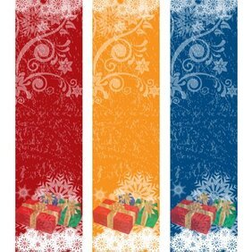 Free Christmas Vector Banners with Gift Boxes