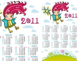 Hand-drawn cartoon Vector 2011 Calendar