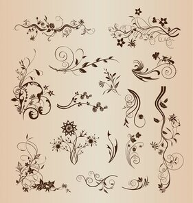 Retro Design Floral decoratieve elementen Vector Set