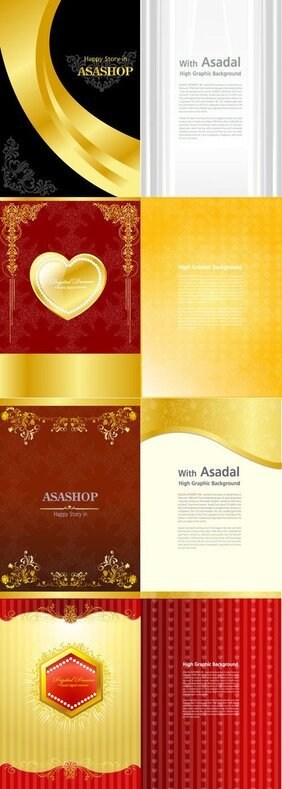Gold Valentine's Day greeting card template