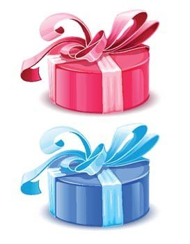 Blue and pink gift boxes