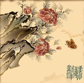 Vector material Dielianhua auspicious New Year picture