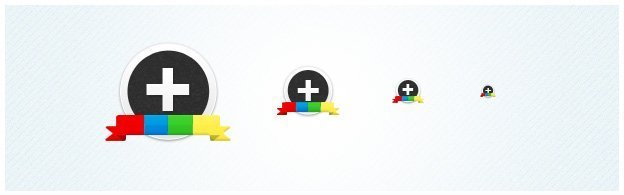 Google Plus(+) runden Icon Set