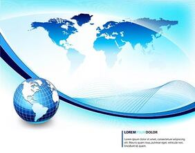 Blue Business Background with Globe and Waves