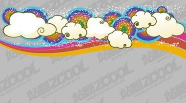 Lovely clouds trend vector rainbow background material