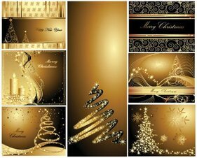 Gold Christmas Postcard