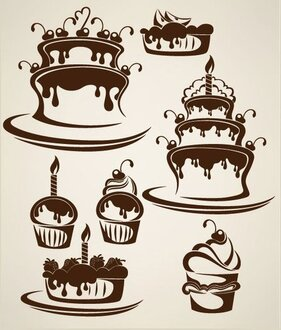 Cartoon cake illustration silhouette