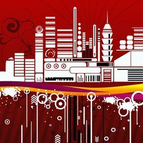 URBAN CITY RED BACKGROUND VECTOR.eps