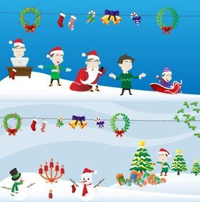 Lovely Christmas scene elements and