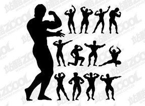 Bodybuilding action figure silhouette
