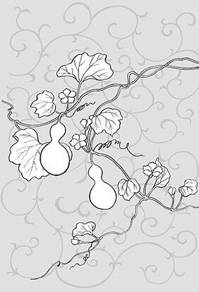 Japanese line drawing of plant flowers vector material -22 (