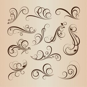 Swirling Flourishes Floral Decorative Elements Vector Illustration Set
