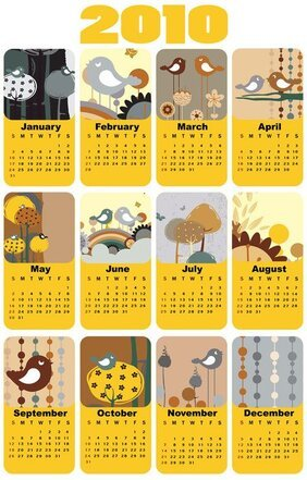 Lovely bird theme of the 2010 calendar template vector mater