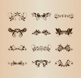 Set of Vintage Design Ornaments with Floral Elements