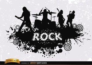 Silhouette de grunge rock band