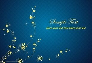Blue Background with Abstract Golden Floral