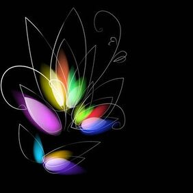Colorful Dark Background with Blurry Flower