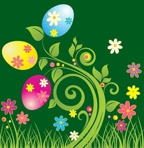 Easter Egg with Green Floral