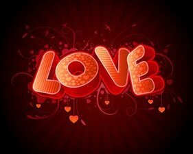Texte amour 3D vector stock