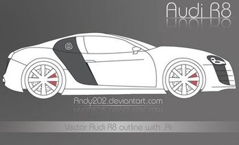 Audi R8 Outline Vector Art