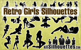 24 Retro Girls Silhouettes