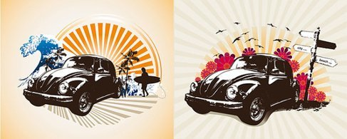 2 retro classic cars theme illustrator