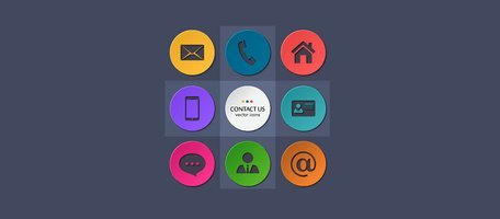 9 Round Circle Contact Vector Icons