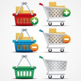 Shopping Cart pictogrammen en mand vectorafbeeldingen (gratis)