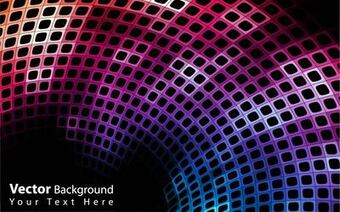 Abstract Colorful Curvy Disco Background